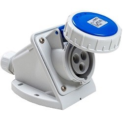 Picture of 16A blue CEE wall socket, 230V, IP67 rated